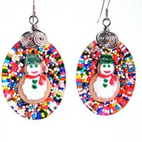 Christmas earrings with snowmen and cupcake sprinkles - resin candy earrings with snowmen - snowman earrings - holiday jewelry