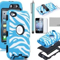 Pandamimi ULAK Zebra Design Combo Black Hard PC and Aqua Blue Soft Silicon Case Cover For iPod Touch4 4th + Aqua Blue Stylus