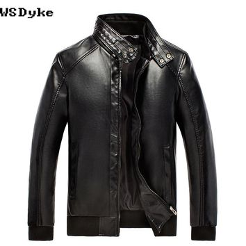 Slim  Stand Collar Leather Jacket Men Motorcycle PU Hombre