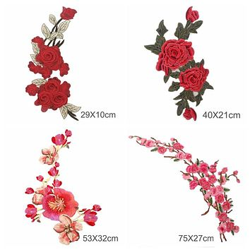 FENGRISE Plum Blossom Peach Red Roses Flower Patch
