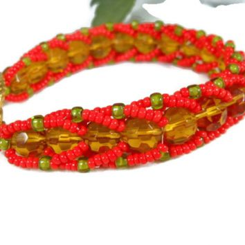 Handmade Beaded Flat Spiral Bracelet, Beaded Jewelry, Gift for Women
