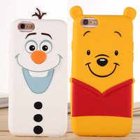 New Arrival Cute 3D Cartoon Olaf Winnie Pooh The Toy Silicon Funda Cover for iPhone 5 5S 6 6S/6 6S Plus Coque Capa Free Shipping