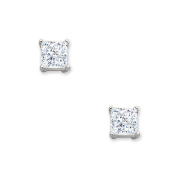 3/8 CT. T.W. Princess Cut Diamond Solitaire Stud Earrings in 14K White Gold