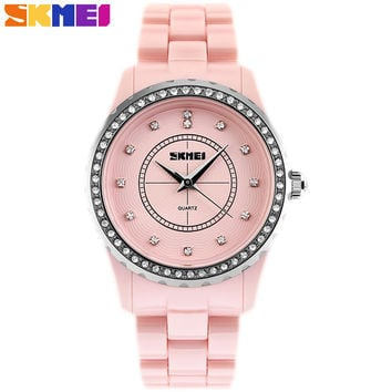 SKMEI 2017 popular brand watches women fashion casual quartz watch Artificial ceramics pink white case bracelet band gift clock