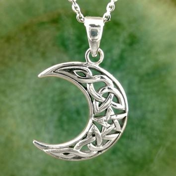 Celtic Knot Crescent Moon Necklace in Sterling Silver
