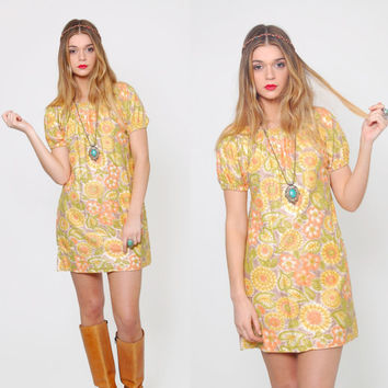 Vintage 70s FLORAL Mini Dress Yellow & Orange DAISY Print Mod Micro Mini Dress Hippie Dress