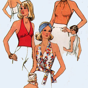 Vintage 70s Sewing Pattern Simplicity 6358 Disco Halter Wrap Tops American a Hustle Size 14 Bust 36