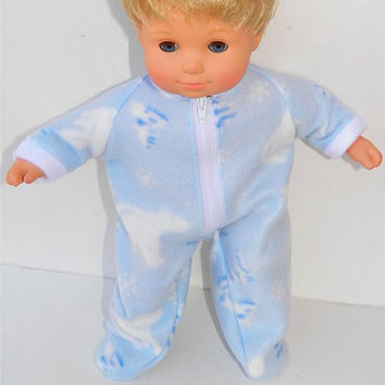 "American Girl Bitty Baby Clothes 15"" Doll Clothes Light Blue White Polar Bear, Christmas Tree, Snowflake Polar Fleece Zip Up Feetie Pajamas"