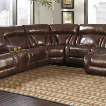 6 pc elemen collection harness colored top grain leather match upholstered sectional sofa with power recliners