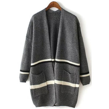 Grey Slouchy Striped Knitted Cardigan Sweater