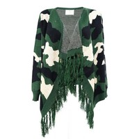 Women's Knitted Camouflage Blanket Wrap Multifunctional Cardigan with Tassled Trim