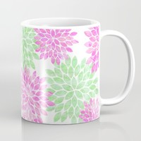 pink and green flowers Mug by Sylvia Cook Photography