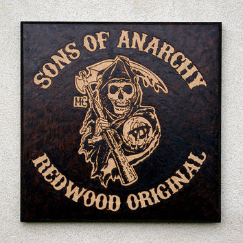 Sons of Anarchy inspired pyrography art