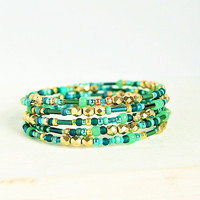 sand and sea beaded memory wire bracelet, gold and teal, wrap bracelet, bangle