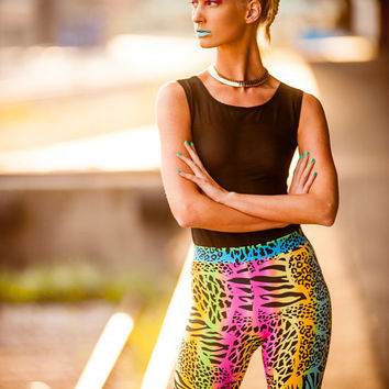 High Waist Multi Animal Print Leggings, Rainbow Colored Pants, Neon Leopard and Zebra Pattern, by LENA QUIST
