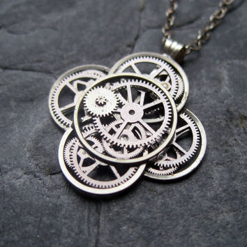 "Mechanical Flower Necklace ""Bringer"" Elegant Recycled Steampunk Gear Pendant Mechanical Plant Pendant Petal Clover Luck Gift"
