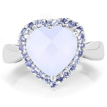 A Natural 3CT Heart Cut Checkerboard Blue Chalcedony & Halo Tanzanite Ring