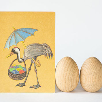 Easter postcards set 4, blank Easter postcards vintage made by artist in 1990s, Bunny Easter Eggs cards, Crane bird eggs, Magpies egg Easter