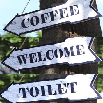 Wood Wall Mounted Arrow Sign Direction Sign Plaque White Coffee Welcome Toilet