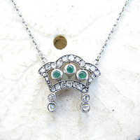 Antique Diamond Emerald Pendant Necklace, Rose Cut Diamonds, Pretty Green Emeralds, Charming Design in 14K White Gold