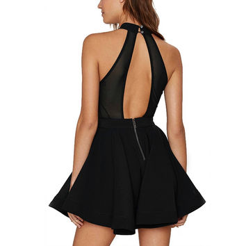 ‰ªÁ New Black Halter Skater Dress Backless ‰ªÁ