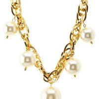 Gold Jumbo Pearl & Chain Statement Necklace by Charlotte Russe