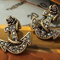 Waldorff's: Rose Boat Anchor Stud Earrings $7.99