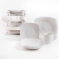 Gibson Home Bliss Cafe 16-Piece Square Dinnerware Set with Metal Rack, White - Walmart.com