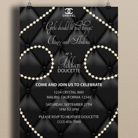 Instant Download-CoCo Chanel Black Upholstery Pearls Fancy DIY Printable Birthday Party Baby Girl Shower Bridal Wedding Invitation Template