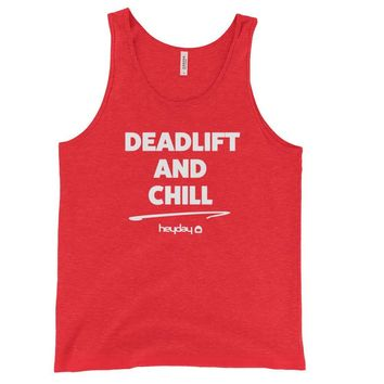 Deadlift and Chill Red Tri-blend Unisex Tank Top