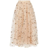 Valentino Star-Embroidered Tulle Midi Skirt Beige | Harrods