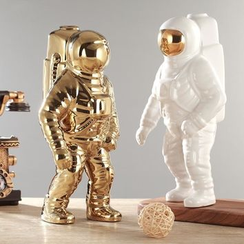 GIEMZA Astronaut Vase Ceramic Model Unique Astronaut Kids 1pc Dried Flowers White Ceramic Vase for Tabletop Decor Tool