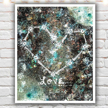 Cosmic Love - fine art print, 40 works in 40 days, mixed media painting, outer space, galaxy, abstract wall art, heart constellation print