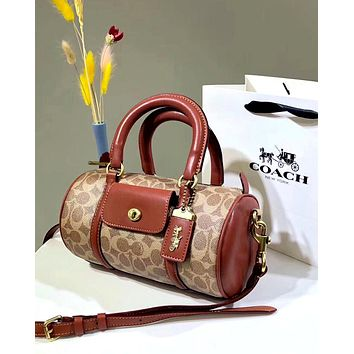 COACH 2019 new high quality women's cylinder bag Boston limited edition shoulder diagonal handbag