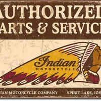 Tin Sign -Authorized Indian PaRT And Service