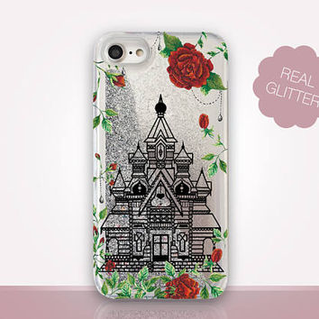 Beauty And The Beast Glitter Phone Case-Transparent Case - Clear Case - Transparent iPhone 7 - Clear iPhone 7 Plus - Gel Case - iPhone 6/6S