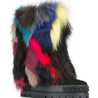 Casadei Fur-embellished Wedge Booties - Monti - Farfetch.com