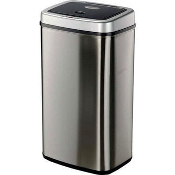 Nine Stars 13.2-Gallon Sensor Trashcan, Stainless Steel