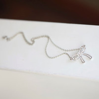 Tiffany Bow Necklace ----SILVER- Crystal Bow