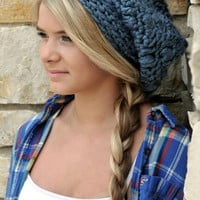 Womens Hats Slouch Beanies for Teenage Girl in Denim Blue Chunky Beanie Fall Winter Fashion