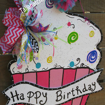 Cupcake Wood Door Hanger Happy Birthday Cupcake Door Hanger Happy Birthday Door Hanger
