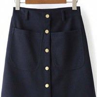 2016 Autumn Fashion Button Down High Waist Skirt with Pocket