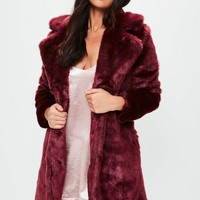 Missguided - Burgundy Faux Fur Slim Coat
