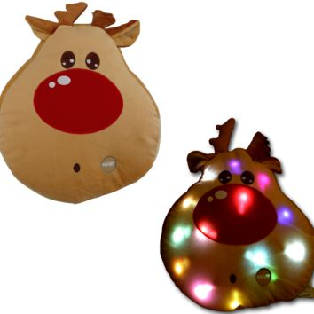 Tache Cute Christmas Lights Red-Nosed Reindeer Microbead LED Throw Pillow