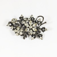 Clear Rhinestone Floral Brooch Retro Vintage Silver Tone Flower Pin Vining Leaf Motif with Chatons and Marquis Rhinestones Black