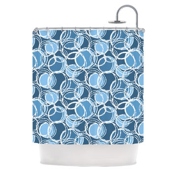"Julia Grifol ""Simple Circles in Blue"" Shower Curtain"