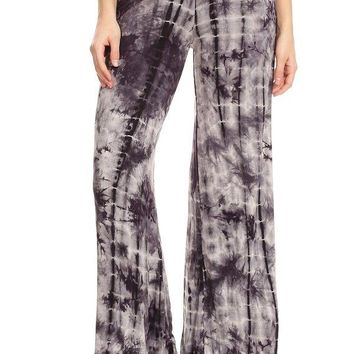 Tie Dye Fold Over Waist Wide Leg Yoga Pants - Grey/Navy