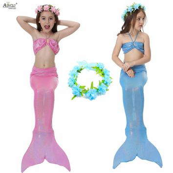 4PCS/Set The Little Mermaid Tail Costume Princess Ariel Children Mermaid Tail Cosplay Kids for Girl Fancy Swimsuits High Quality