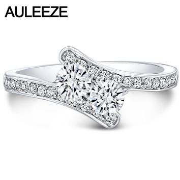 Unique Two Stone 585 Gold Twist Ring 14K White Gold Forever Brilliant Lab Grown Diamond Moissanites Engagement Wedding Ring