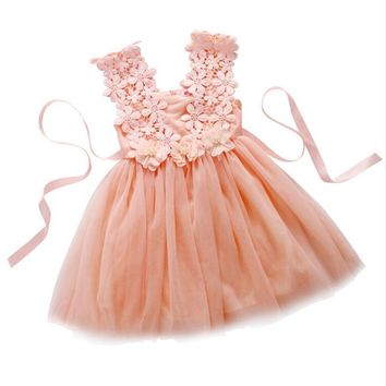 Toddlers Baby Girls Clothes Sleeveless Princess Tulle Hook Flowers Summer Dresses